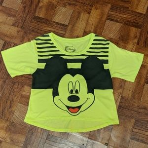 Neon Disney Mickey Mouse Cropped Top